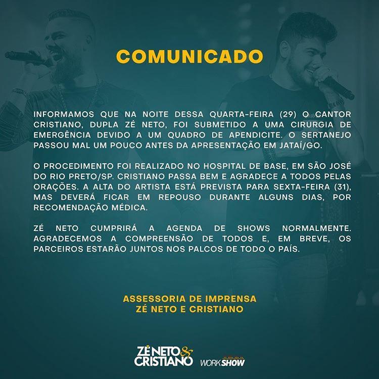 Cristiano, da dupla com Zé Neto, passa por cirurgia de emergência - 2