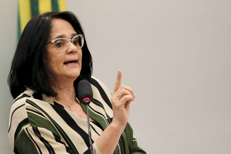 A ministra da Mulher, Família e Direitos Humanos, Damares Alves, participa de audiência pública na Comissão de Defesa dos Direitos da Mulher da Câmara.