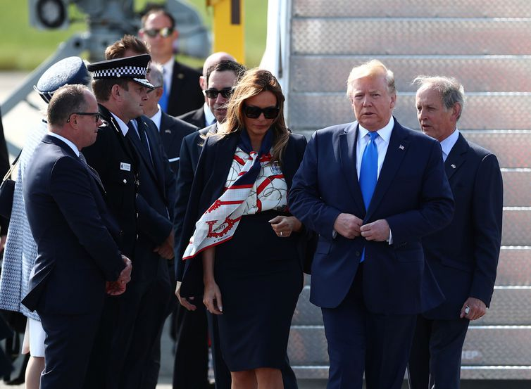 U.S. President Donald Trump and First Lady Melania Trump arrive for their state visit to Britain, at Stansted Airport near London, Britain, June 3, 2019. REUTERS/Hannah McKay
