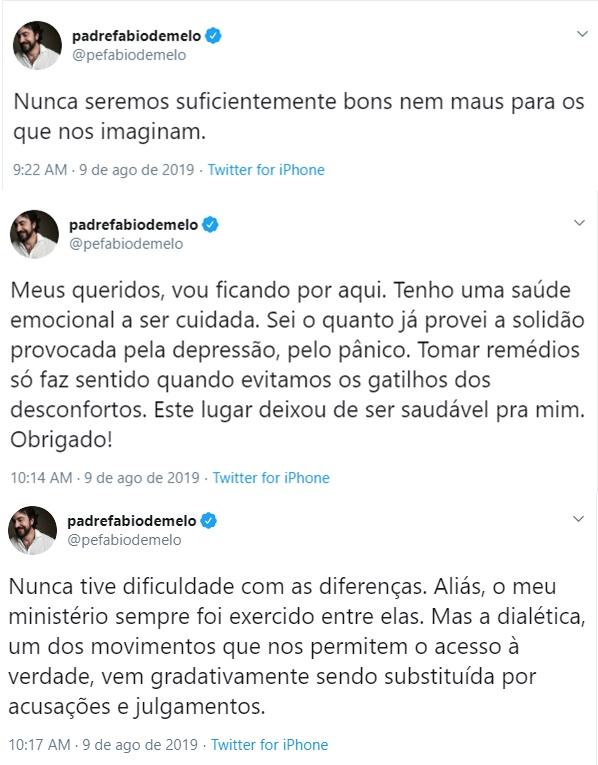 """Padre Fábio de Melo deixa o Twitter: """"Tenho uma saúde emocional a ser cuidada"""" - 1"""