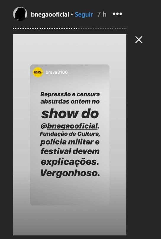 Show de BNegão é encerrado por policiais após críticas ao presidente Jair Bolsonaro - 1