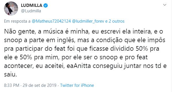 Anitta sai em defesa de Ludmilla após ataques virtuais por letra de canção; entenda - 1