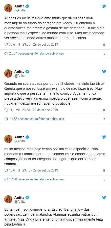 Anitta sai em defesa de Ludmilla após ataques virtuais por letra de canção; entenda - 2