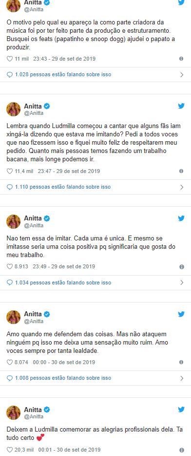 Anitta sai em defesa de Ludmilla após ataques virtuais por letra de canção; entenda - 3