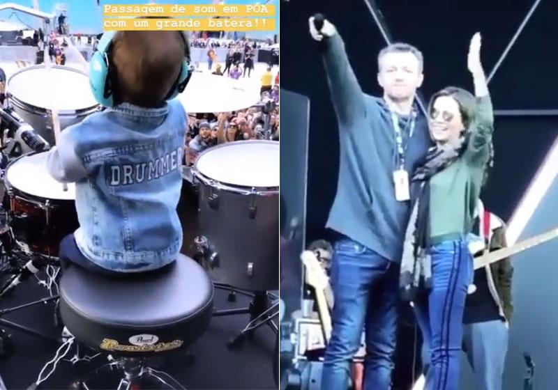 Otto, filho de Júnior, brincou na bateria e Lucas Lima, marido de Sandy puxou hino em Porto Alegre - Foto: Reprodução/ Instagram