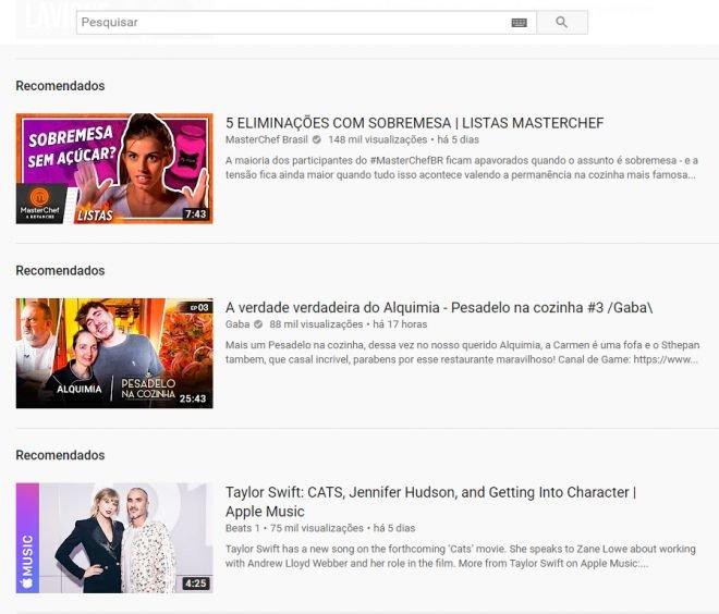 Bug no YouTube altera layout e remove recomendações em formato carrossel - 2