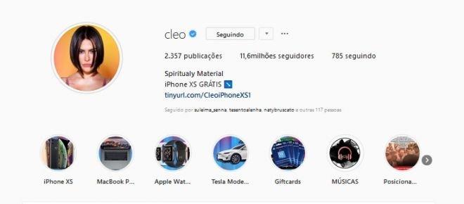 Cleo Pires tem Instagram hackeado; bandidos oferecem gadgets de graça - 2