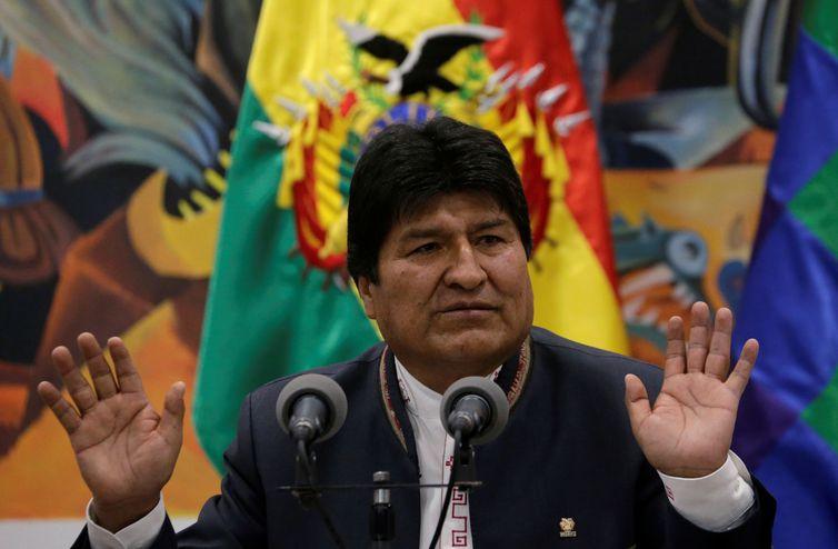 Presidente Evo Morales fala durante conferência REUTERS/David Mercado/Direitos reservados