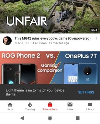 YouTube agora tem novo modo escuro no Android 10 - 2
