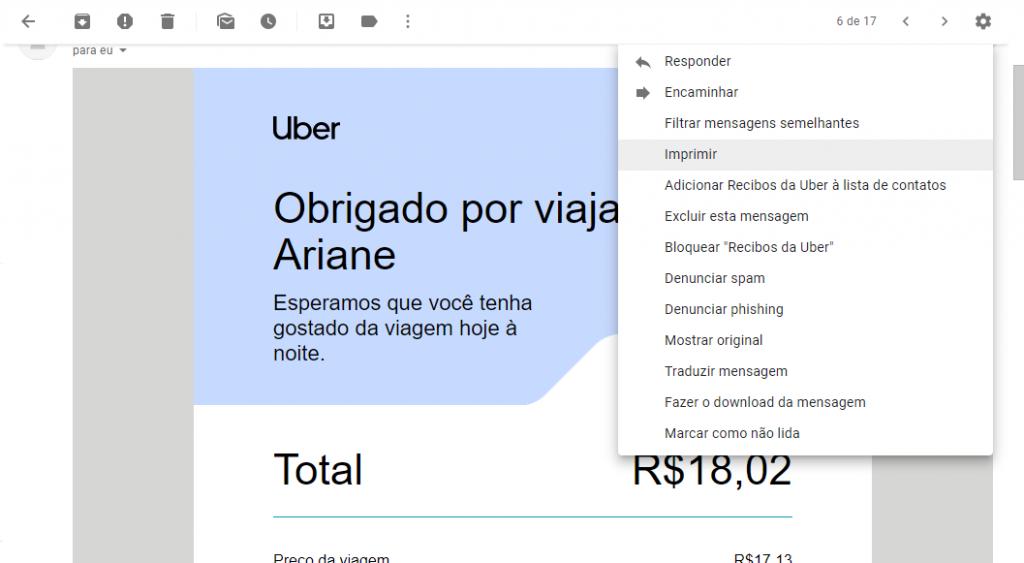 Como emitir e imprimir recibos de viagens feitas com o Uber - 5