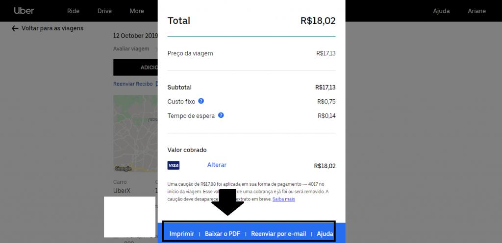 Como emitir e imprimir recibos de viagens feitas com o Uber - 9