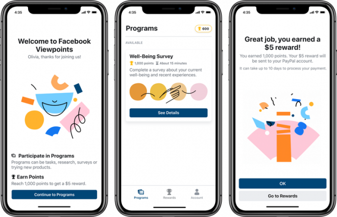 Facebook lança Viewpoints, aplicativo que paga para você responder pesquisas - 2