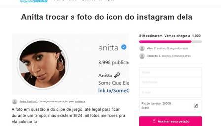 Fãs de Anitta criam petição virtual para ela trocar a foto de perfil no Instagram - 1