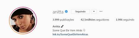 Foto do perfil do Instagram da cantora é de