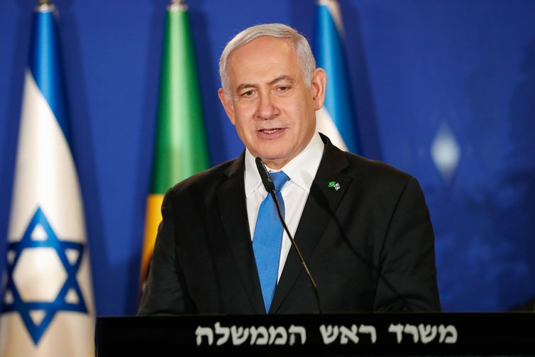 O primeiro-ministro de Israel, Benjamin Netanyahu, durante declaração conjunta com o presidente da República, Jair Bolsonaro, em Jerusalém.