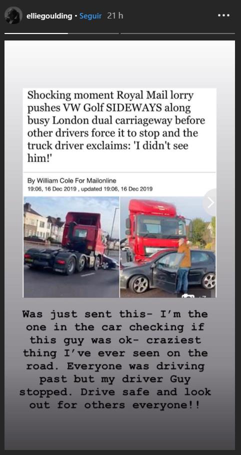Ellie Goulding é flagrada resgatando motorista após acidente envolvendo caminhão - 1