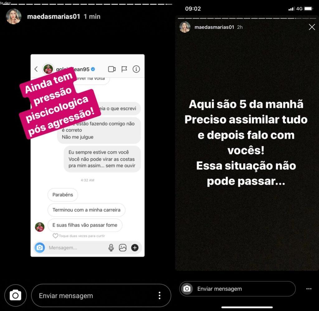 Esposa do goleiro do São Paulo, o acusa de agressão e compartilha vídeo machucada - 1
