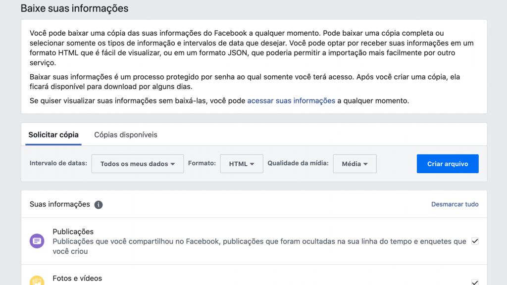 Facebook: como baixar seu histórico de usuário completo - 4