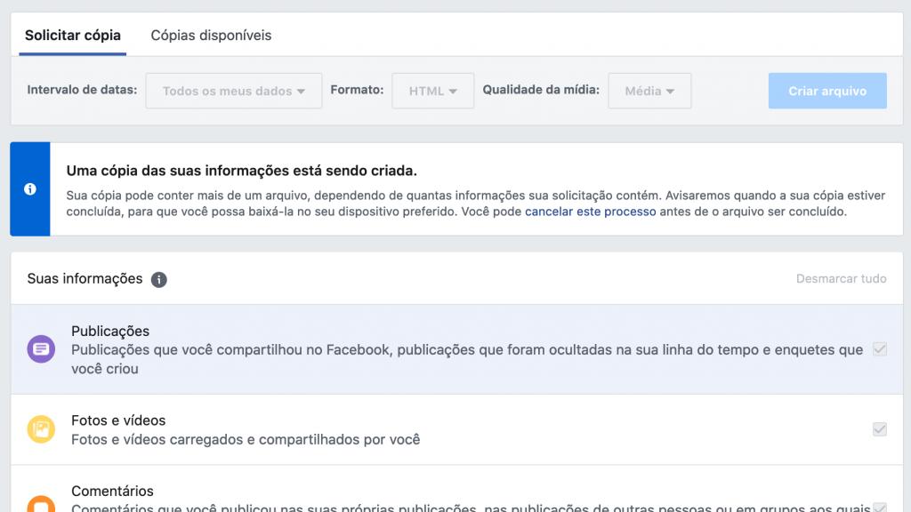 Facebook: como baixar seu histórico de usuário completo - 5