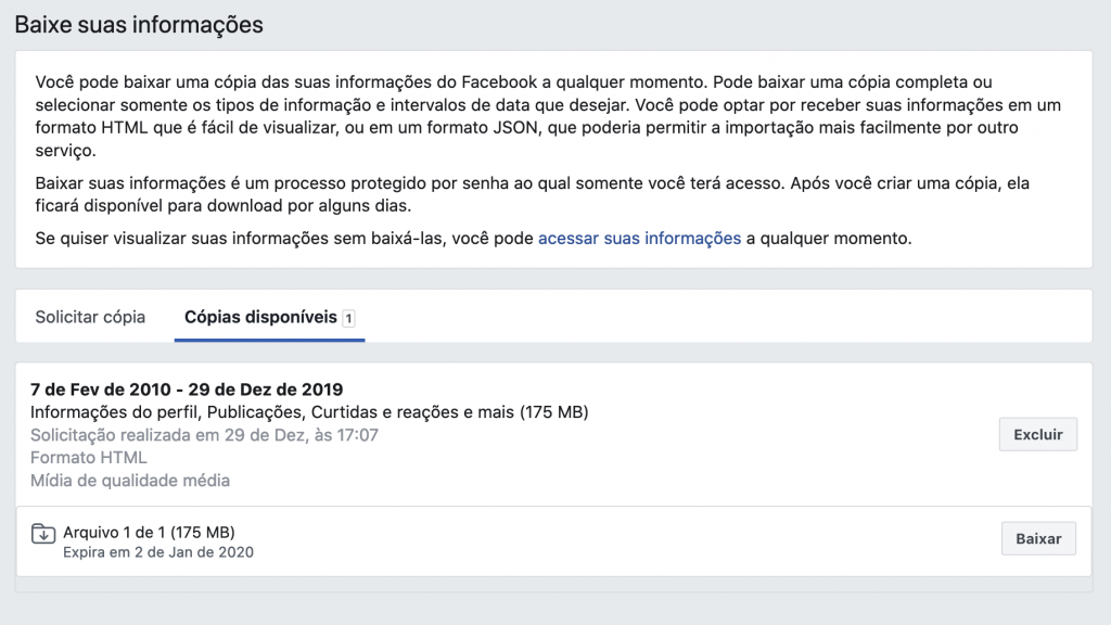 Facebook: como baixar seu histórico de usuário completo - 9
