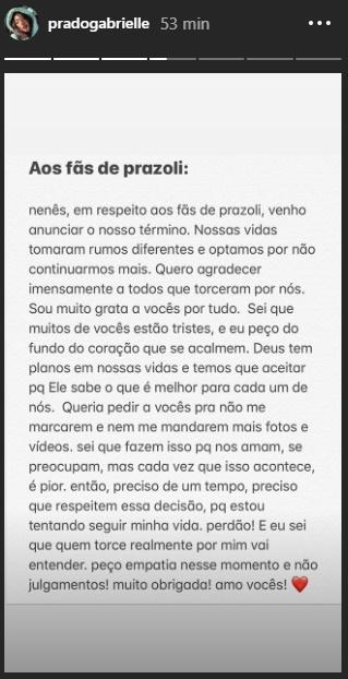 Gabi Prado anuncia término do namoro com João Zoli - 1