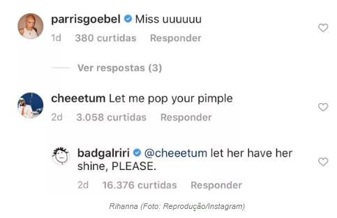 Sem maquiagem, Rihanna posta foto com espinha e fã pede para espremer - 1