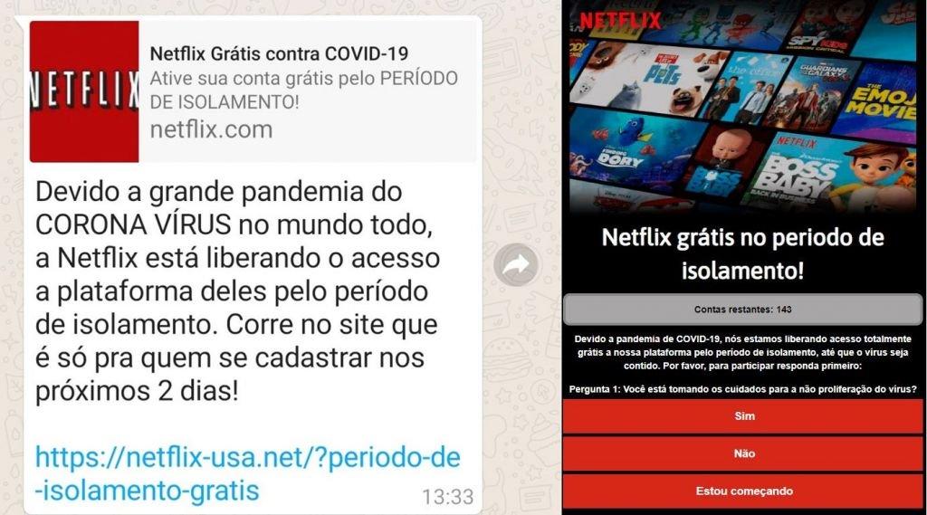 Coronavírus   Golpe promete Netflix de graça, mas quer roubar seus dados - 2