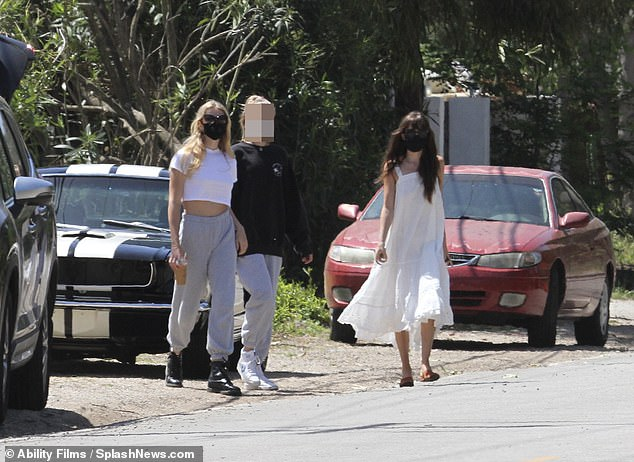 Oh no:The Fifty Shades Of Grey star, 30, and the youngster, 15, were left temporarily stranded after picking up supplies at Vintage Grocers in Malibu, California