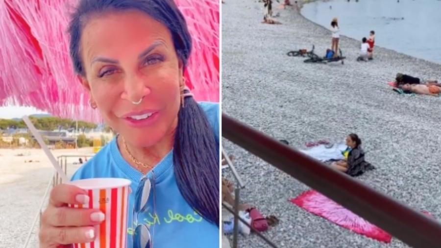 Na frança, Gretchen mostra fim da quarentena curtindo a praia - 1