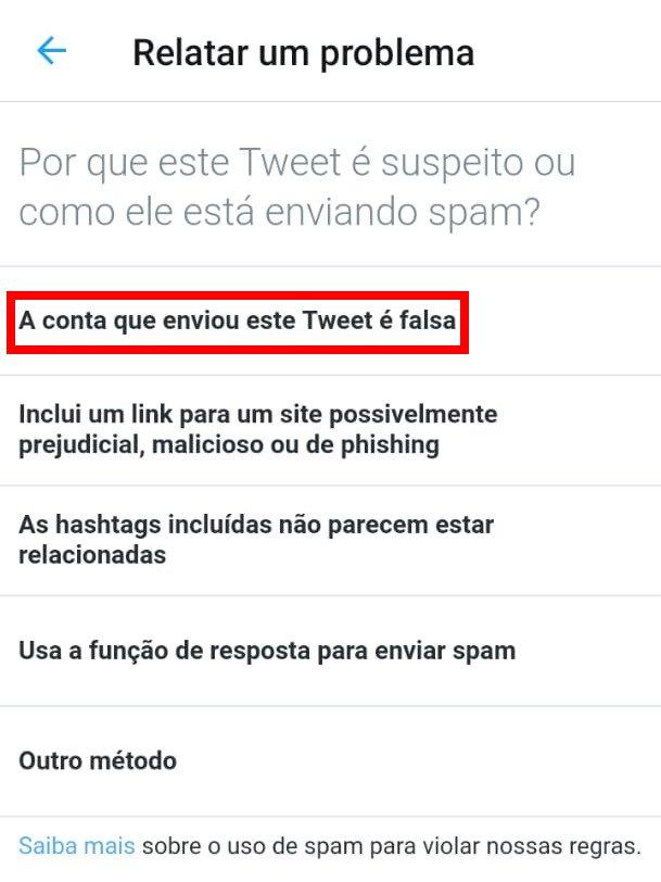 Como denunciar spam e fake news no Twitter - 5