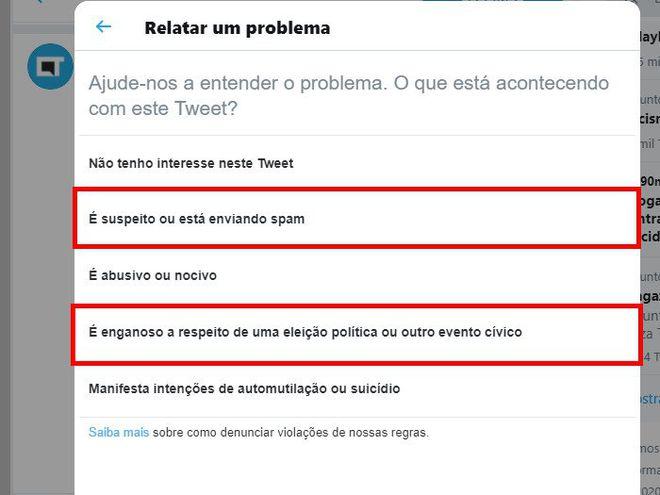 Como denunciar spam e fake news no Twitter - 9