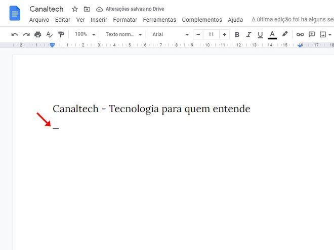 Como colocar travessão em textos do Google Docs - 2