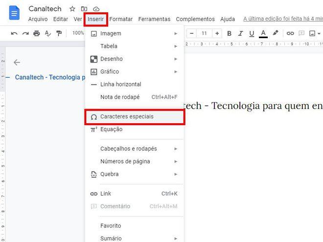 Como colocar travessão em textos do Google Docs - 3