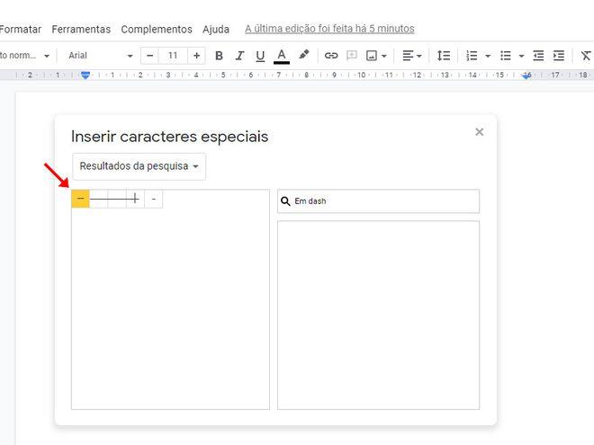Como colocar travessão em textos do Google Docs - 5