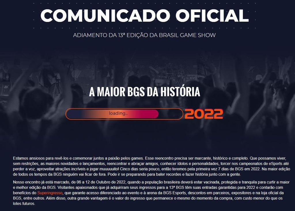 Brasil Game Show é adiada e terá evento de uma semana em 2022 - 2