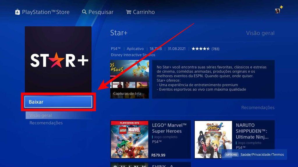 Como baixar o Star+ no PS4 e PS5 - 5