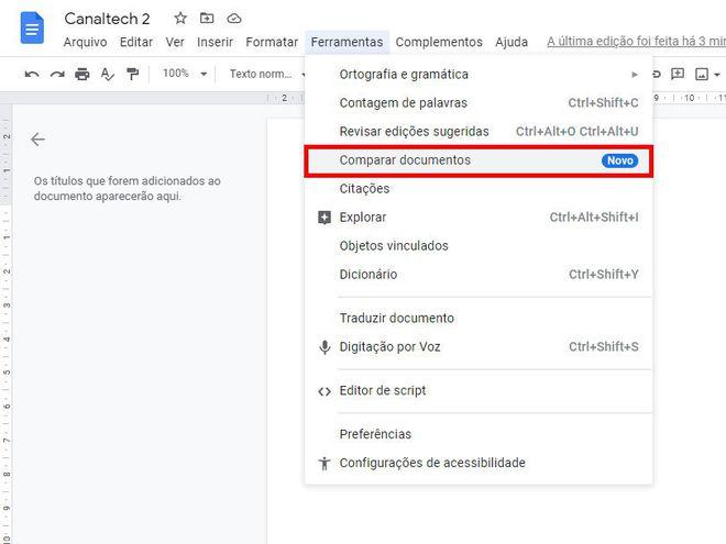 Como comparar dois documentos usando o Google Docs - 3