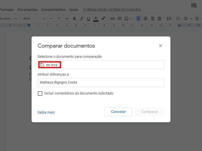 Como comparar dois documentos usando o Google Docs - 4