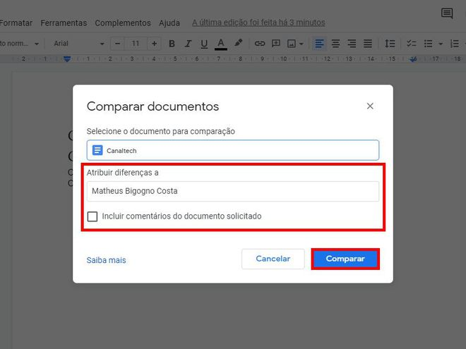 Como comparar dois documentos usando o Google Docs - 6